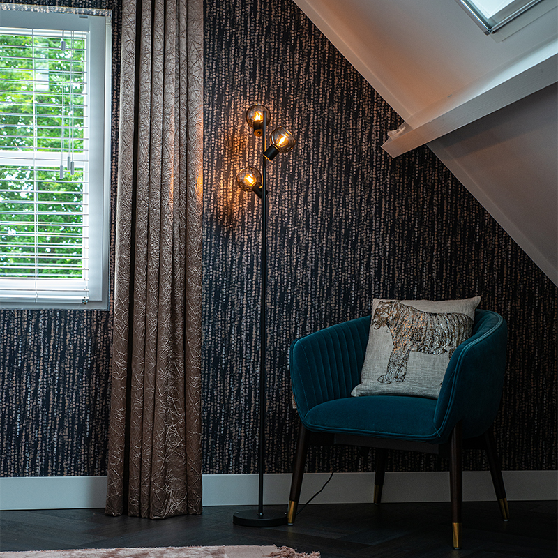 Art Deco vloerlamp zwart 3-lichts met smoke glas - Vidro