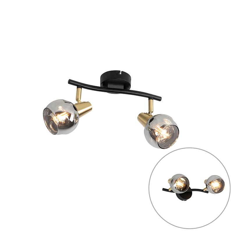 Art Deco plafondlamp zwart met smoke glas 2-lichts - Vidro