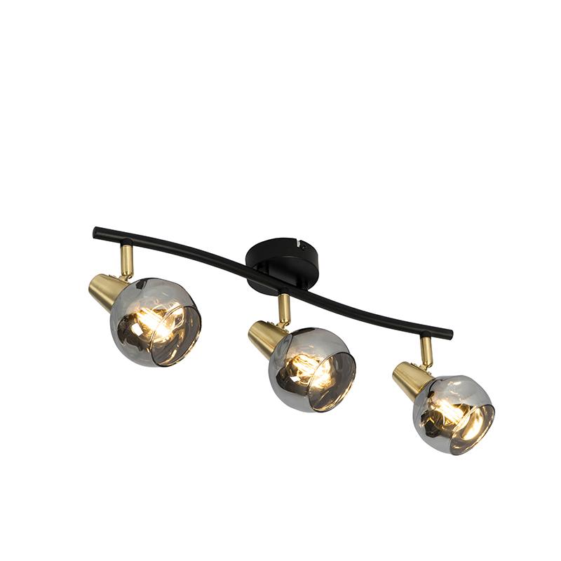 3-lekka mosiężna lampa sufitowa w stylu art deco z podłużnym szkłem dymnym - Vidro