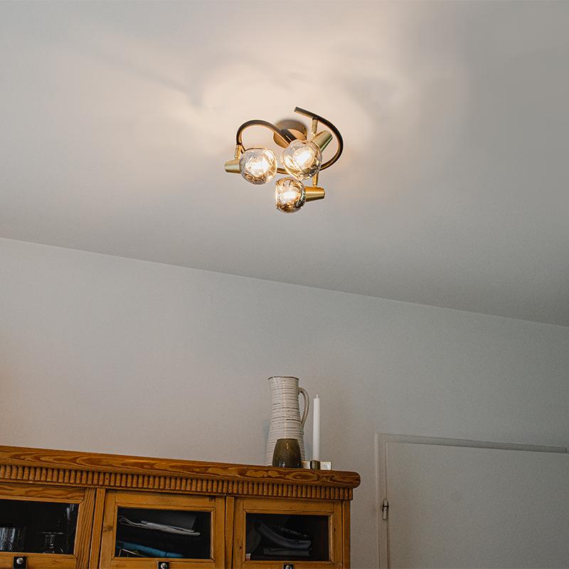 Plafondlamp zwart 44,5 cm met smoke glas 3-lichts - Vidro