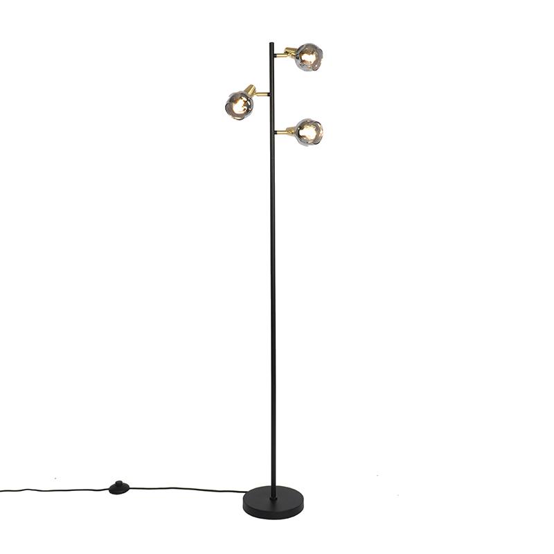 Art Deco vloerlamp messing 3-lichts met smoke glass - Vidro