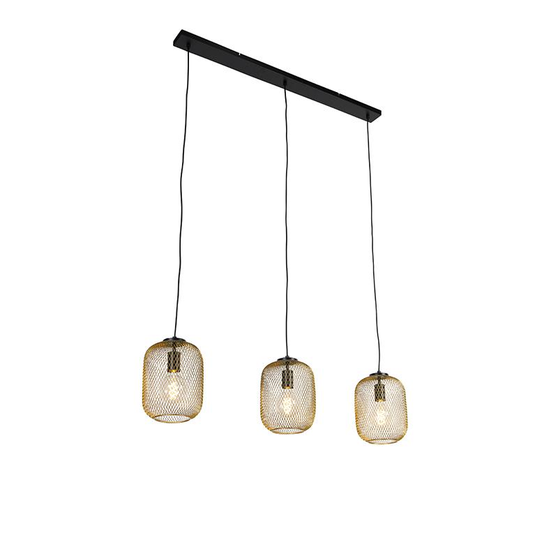 Industri�le hanglamp goud 110 cm 3-lichts - Bliss Mesh