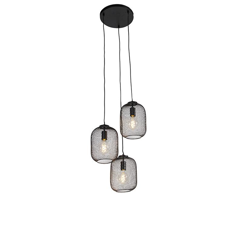 Przemysłowa lampa wisząca czarna 45 cm 3-punktowa - Bliss Mesh