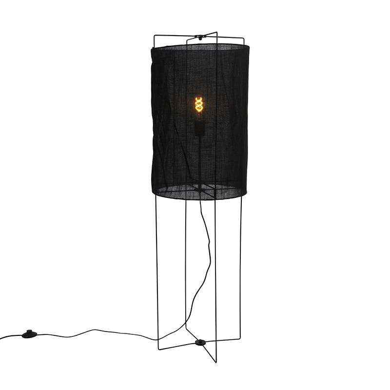 Design vloerlamp zwart linnen kap - Rich