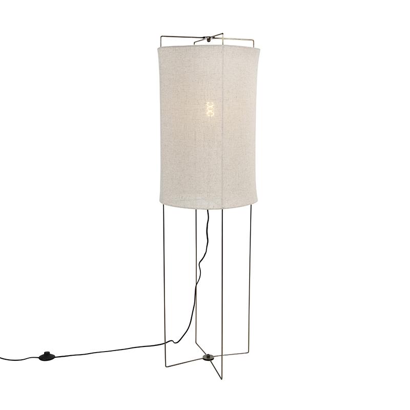 Designerska lampa podłogowa ze stali z beżowym lnianym kloszem - Rich