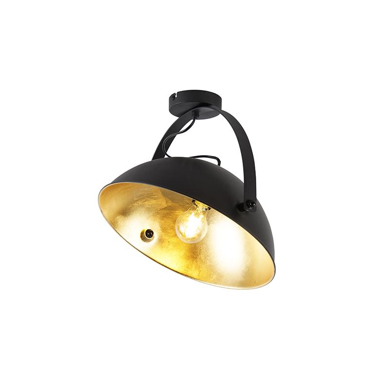 Industrialna lampa sufitowa czarna ze złotą regulacją - Magnax