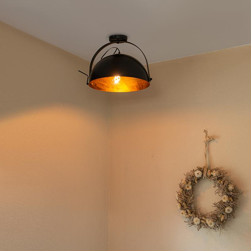 Industriële plafondlamp zwart met goud kantelbaar - Magna