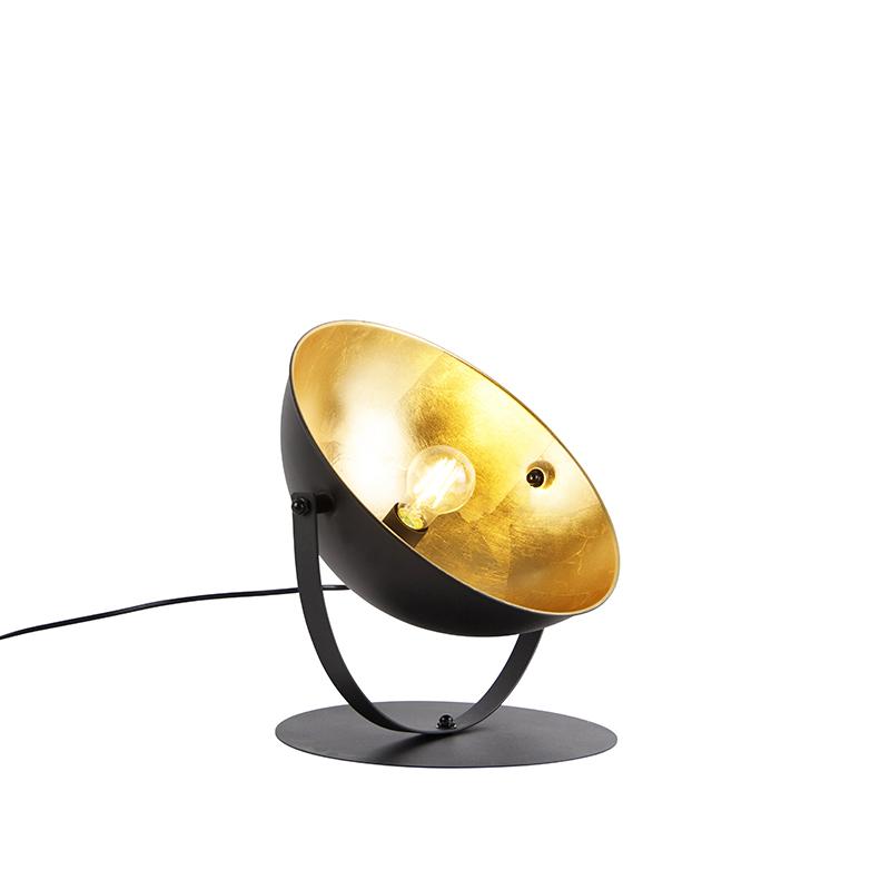 Przemysłowa lampa stołowa czarna ze złotem regulowana 39,2 cm - Magnax