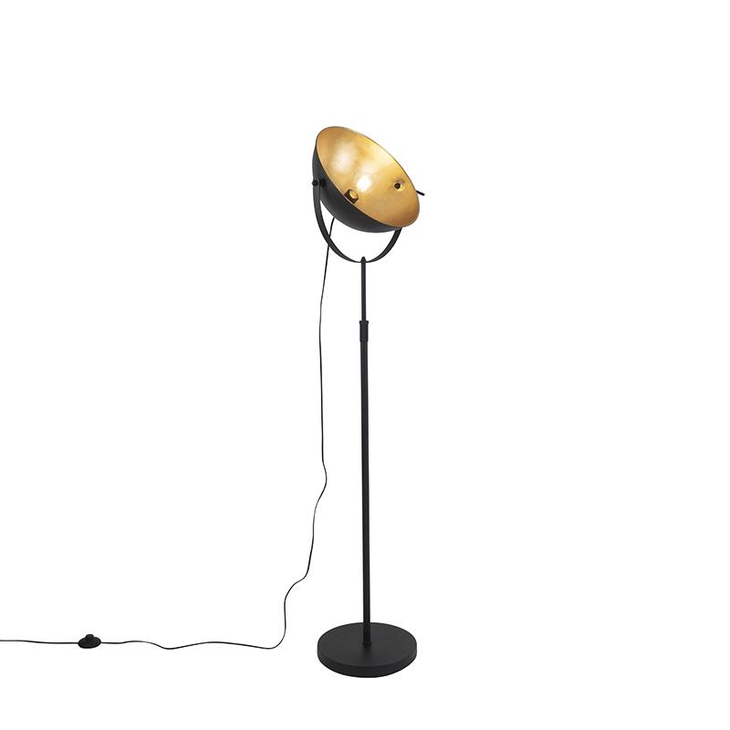 Industriële vloerlamp zwart 35 cm met goud verstelbaar - Magnax