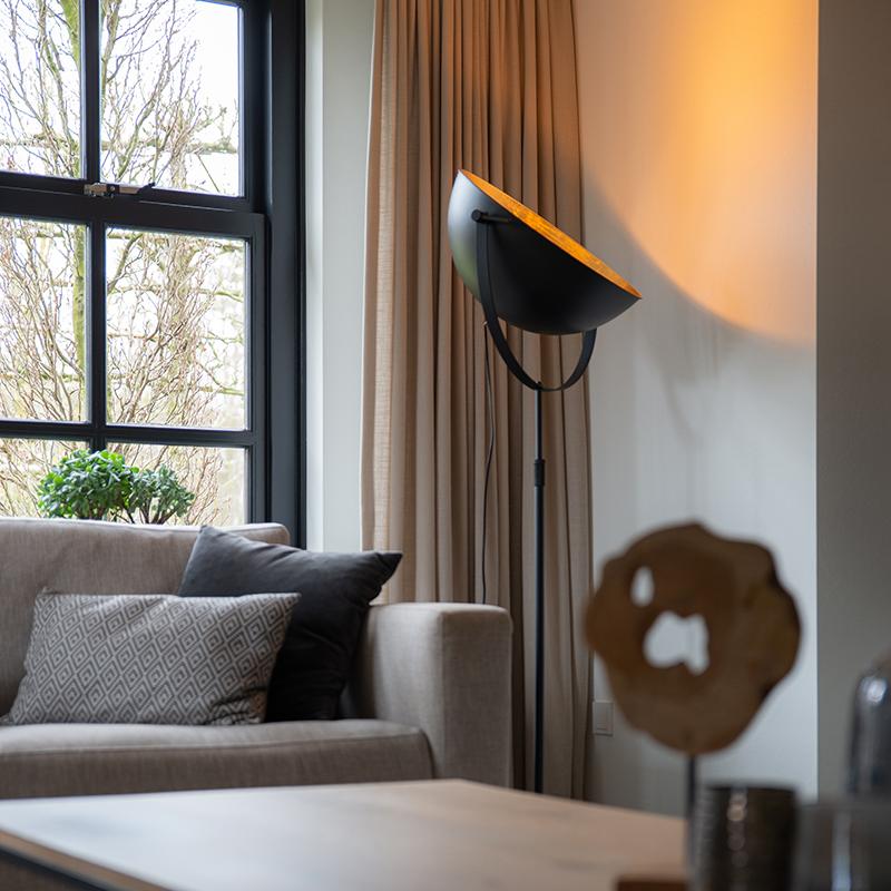 Industriële vloerlamp zwart 50 cm met goud verstelbaar - Magnax