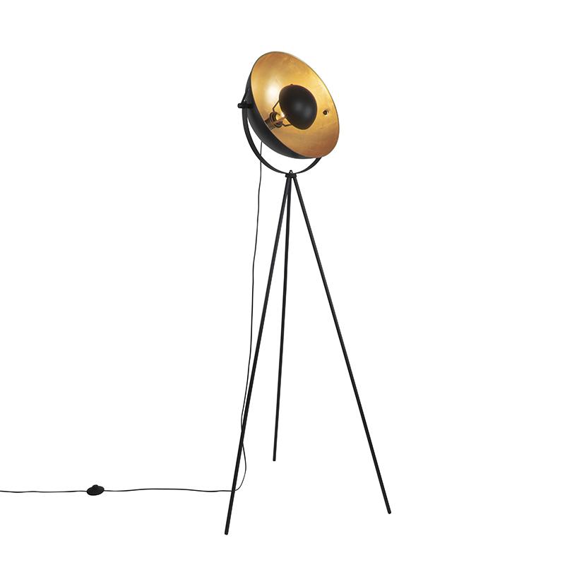 Vloerlamp zwart met goud 42 cm verstelbaar tripod - Magnax