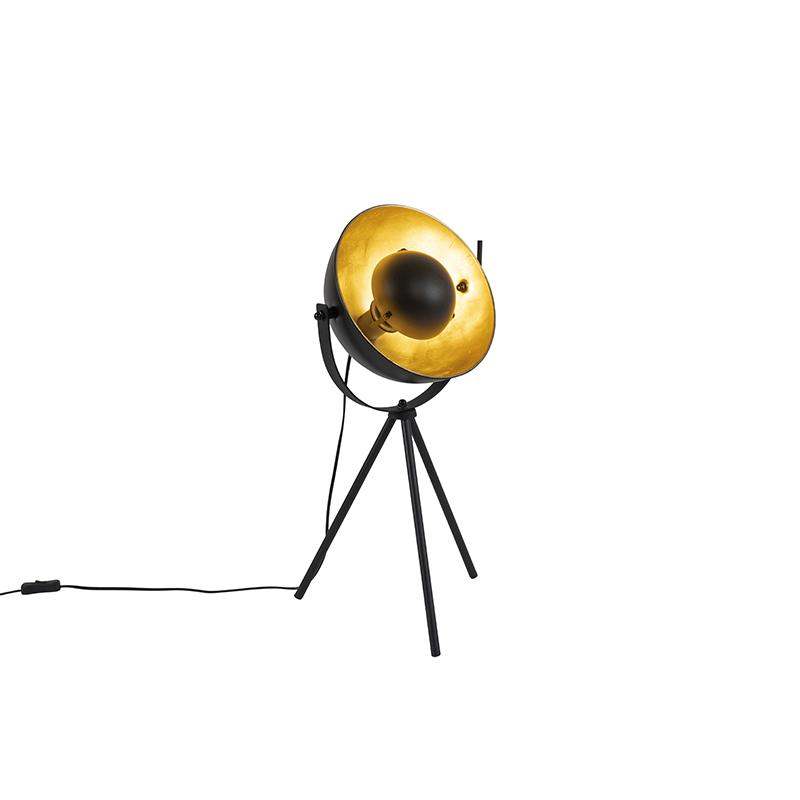 Tafellamp tripod zwart met goud verstelbaar - Magnax