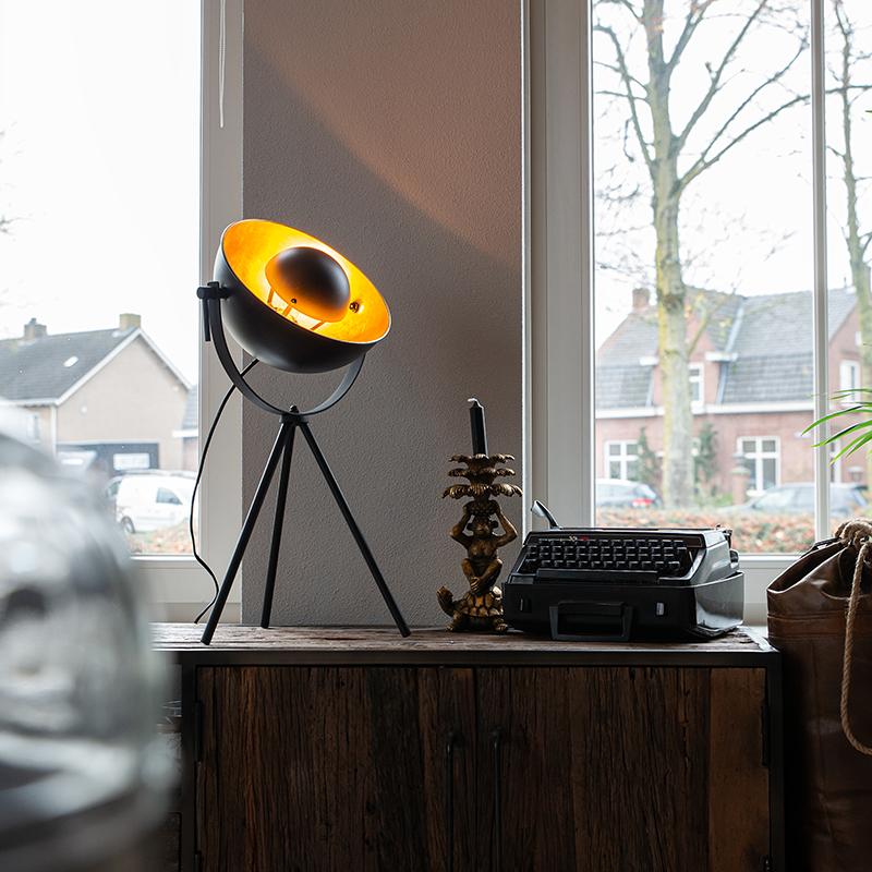 Tafellamp zwart met goud 63,3 cm tripod verstelbaar - Magnax