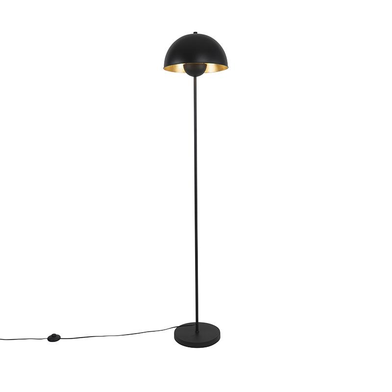 Industriële vloerlamp zwart met goud - Magnax