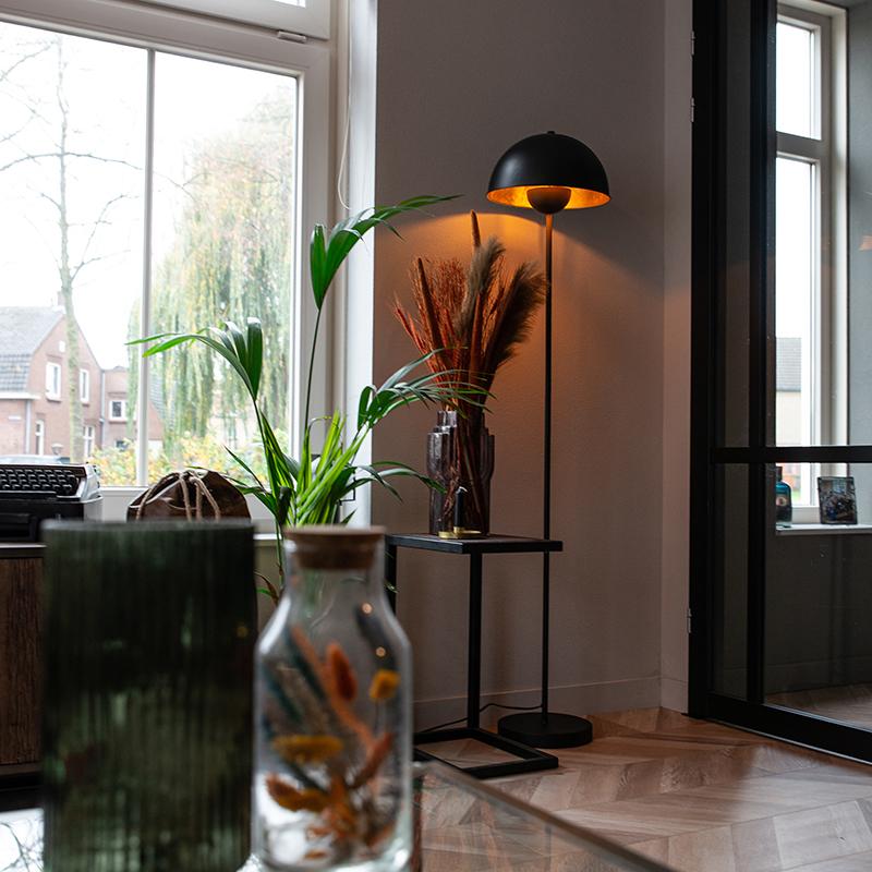 Industriële vloerlamp zwart met goud 160 cm - Magnax