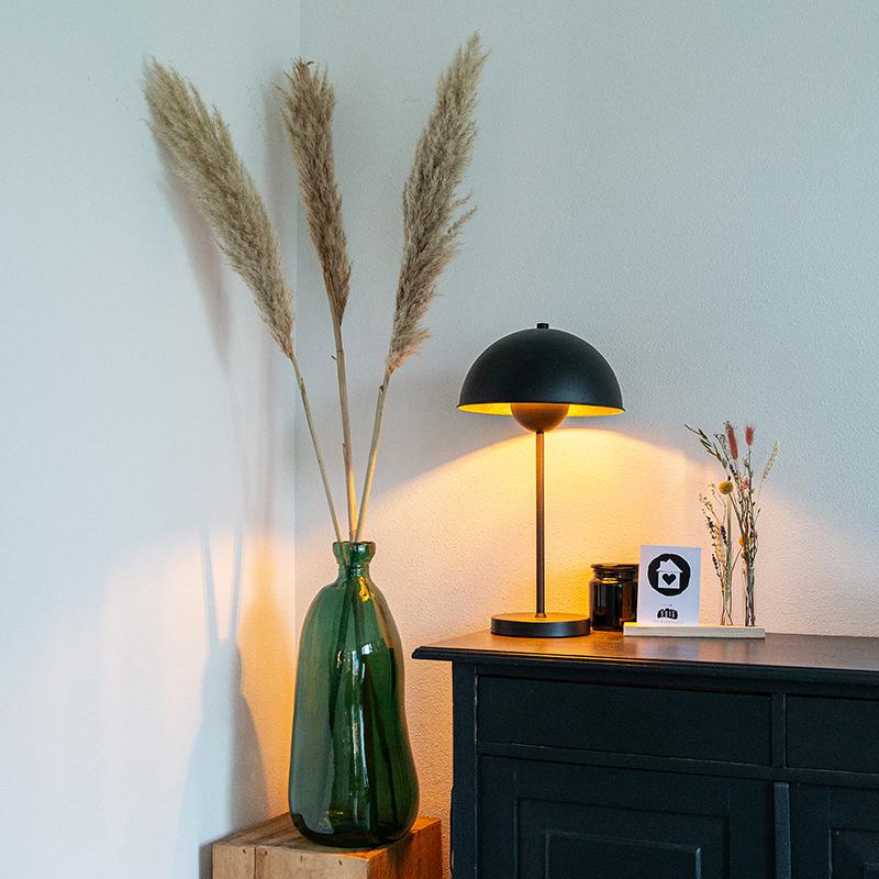 Retro tafellamp zwart met goud - Magnax