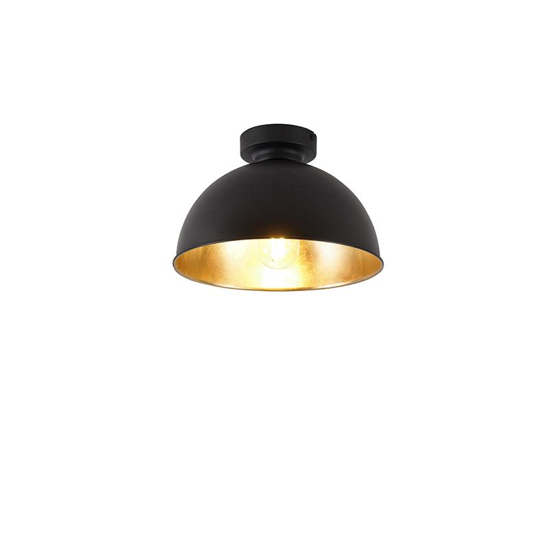 Industrialna lampa sufitowa czarna ze złotem 28 cm - Magnax