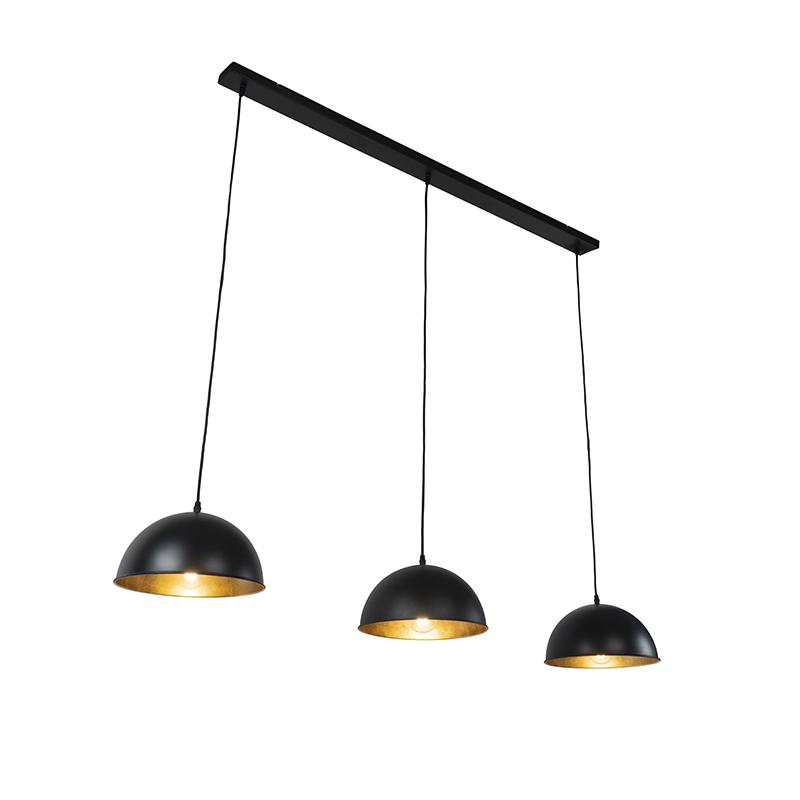 Industriële hanglamp zwart met goud 3-lichts - Magnax