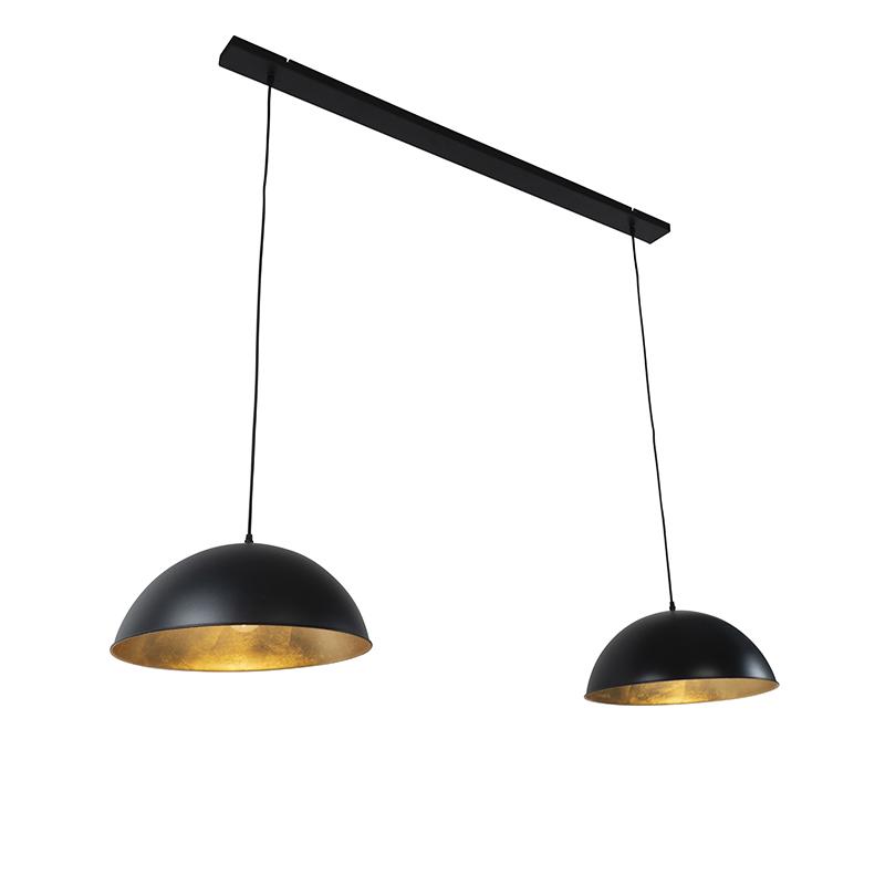 Industriële hanglamp zwart met goud 2-lichts - Magnax