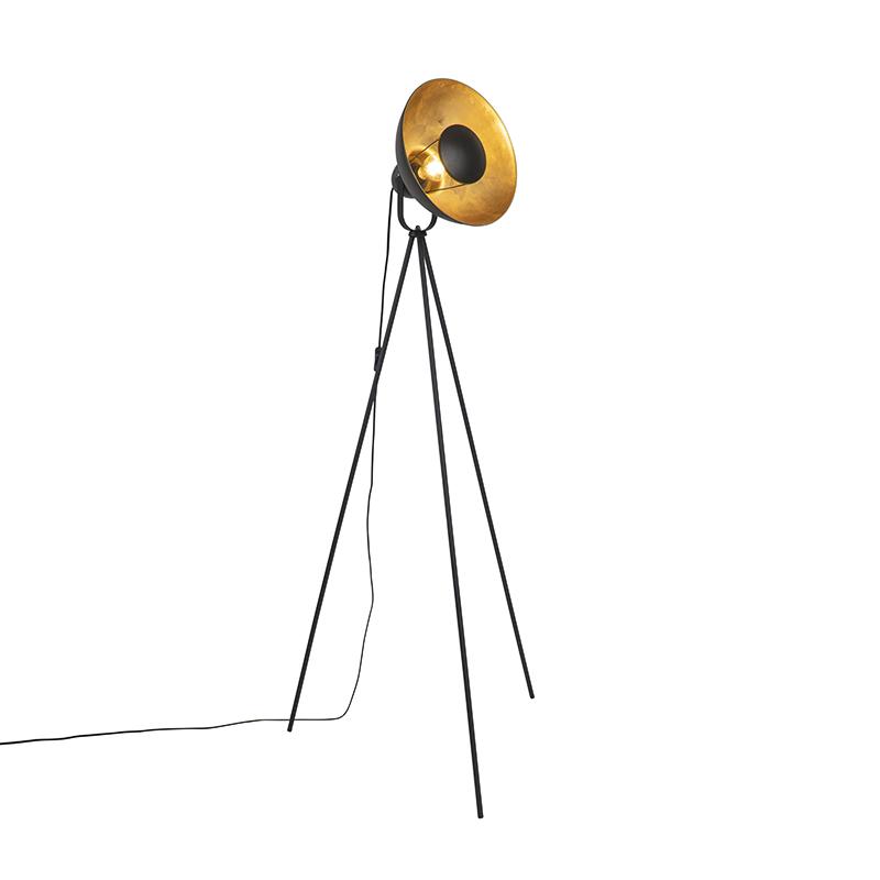 Vloerlamp tripod zwart met goud verstelbaar - Magnax Eco