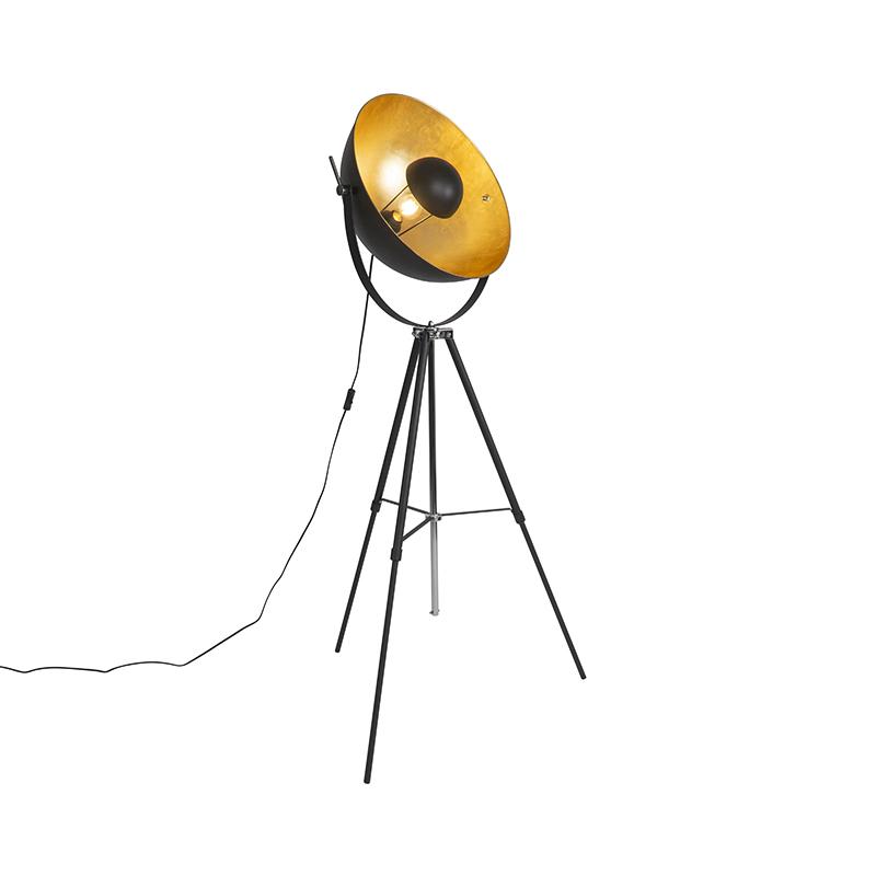 Vloerlamp zwart met goud 51 cm verstelbaar tripod - Magnax