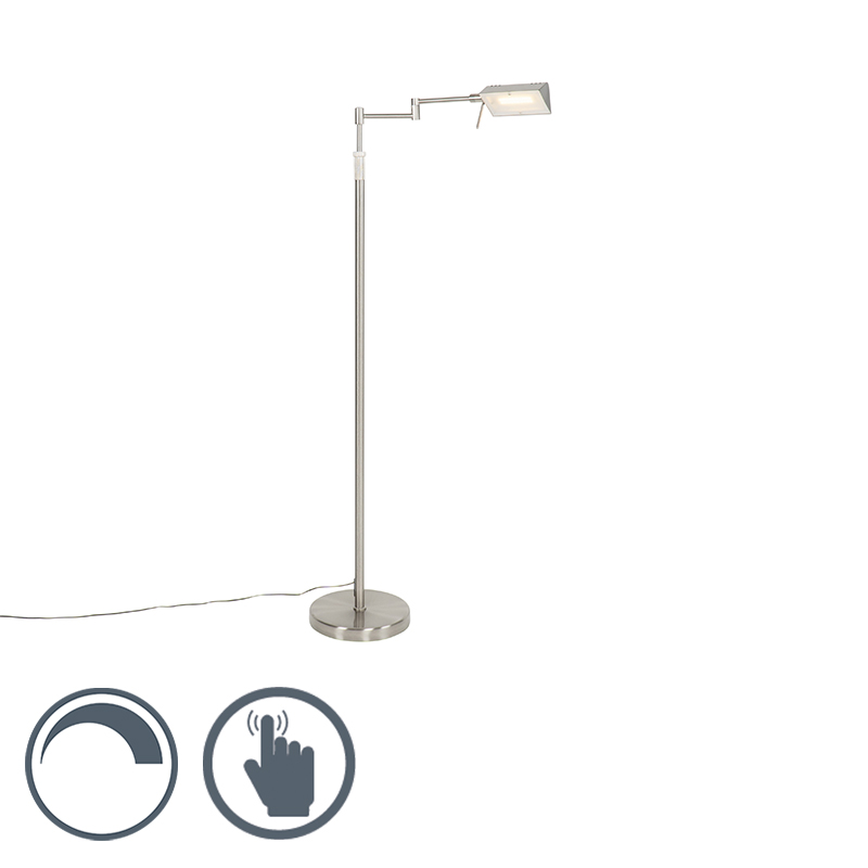 Design vloerlamp staal incl. LED met touch dimmer - Notia