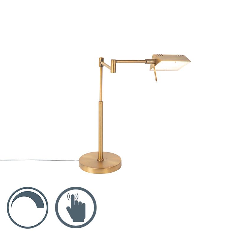 Design tafellamp brons incl. LED met touch dimmer - Notia