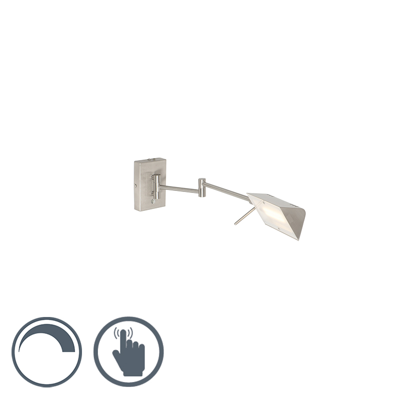 Moderne wandlamp staal incl. LED met touch dimmer - Notia