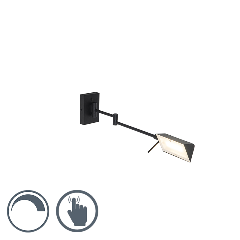 Design wandlamp zwart incl. LED met touch dimmer - Notia