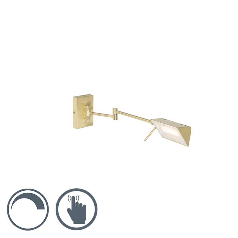 Design wandlamp messing incl. LED met touch dimmer - Notia