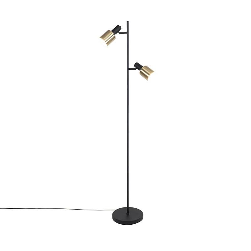 Dizajnová stojaca lampa čierna so zlatými 2-svetlami - Lynn
