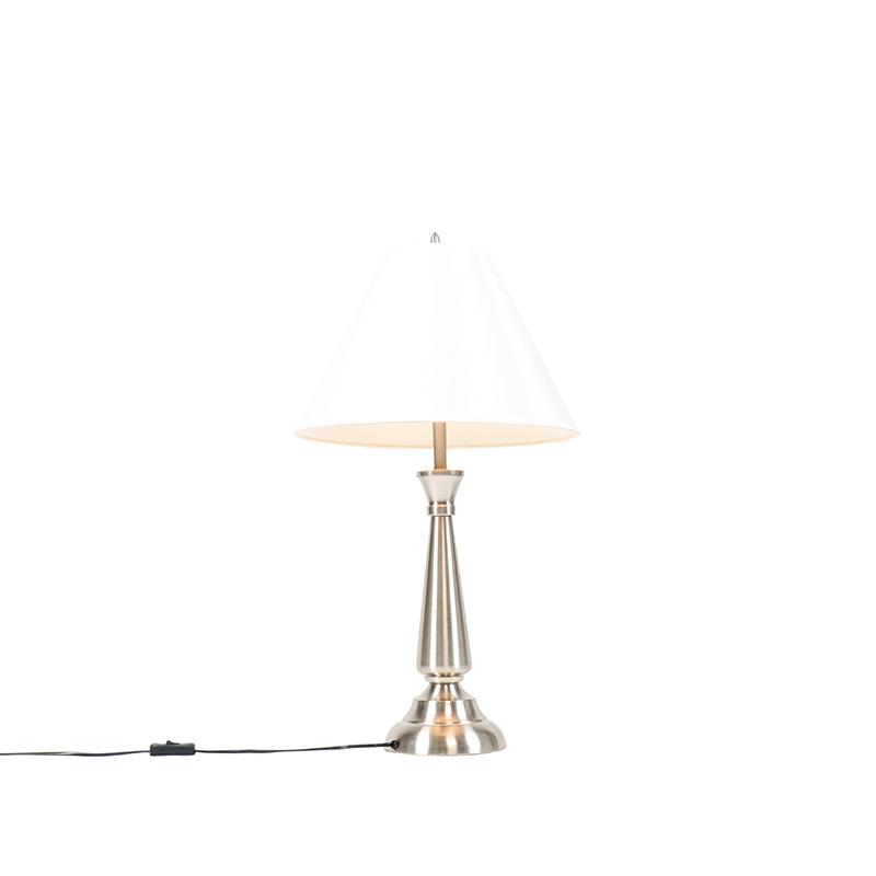 Klassieke tafellamp staal met cr�me kap - Taula