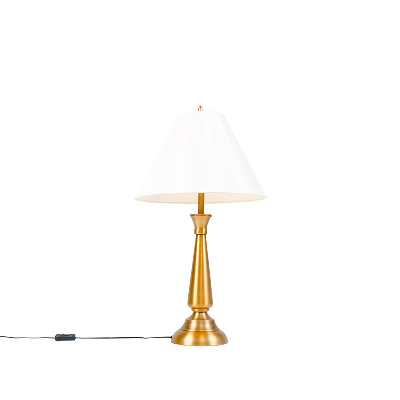 Klassieke tafellamp brons met crème kap - Taula