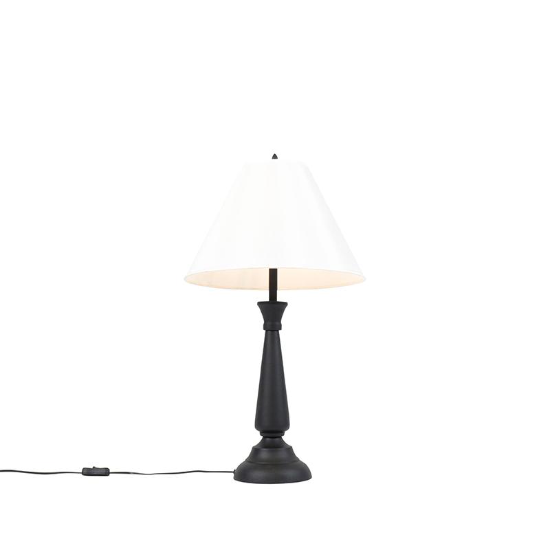 Klassieke tafellamp zwart met crème kap - Taula