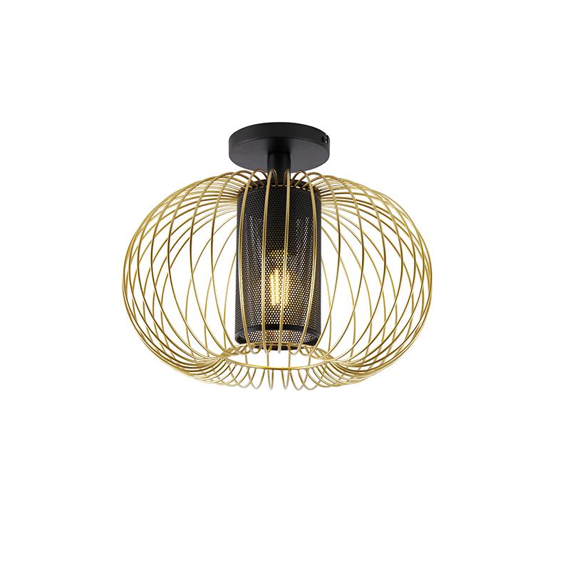 Designerska lampa sufitowa złoto-czarna - Marnie