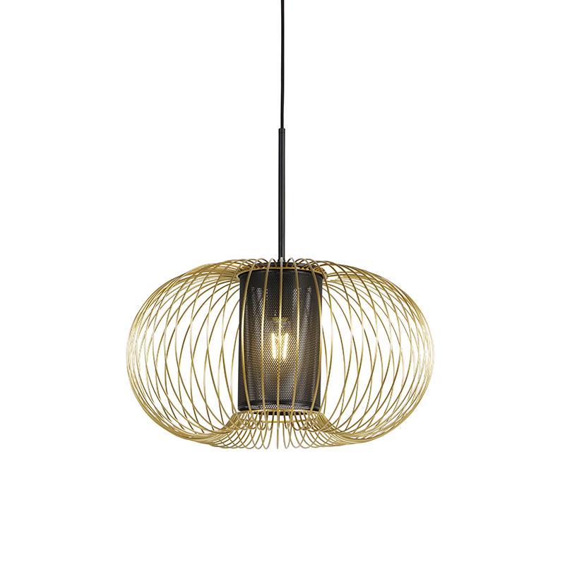Design hanglamp goud met zwart 50 cm - Marnie