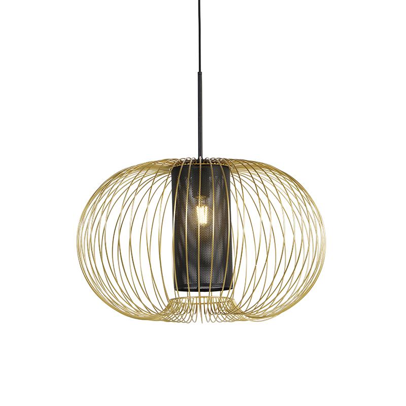 Designerska lampa wisząca złota z czarnym 60 cm - Marnie