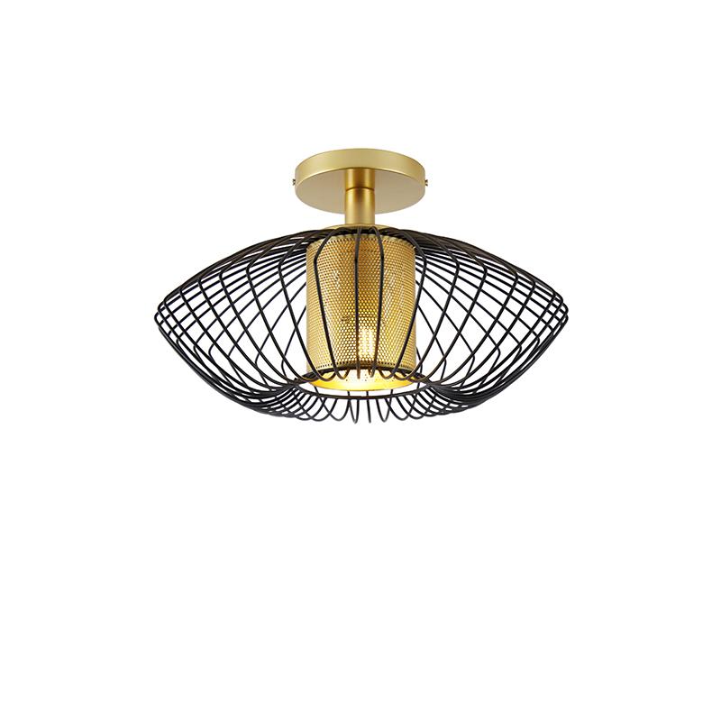 Designerska lampa sufitowa złota z czarnym - Dobrado