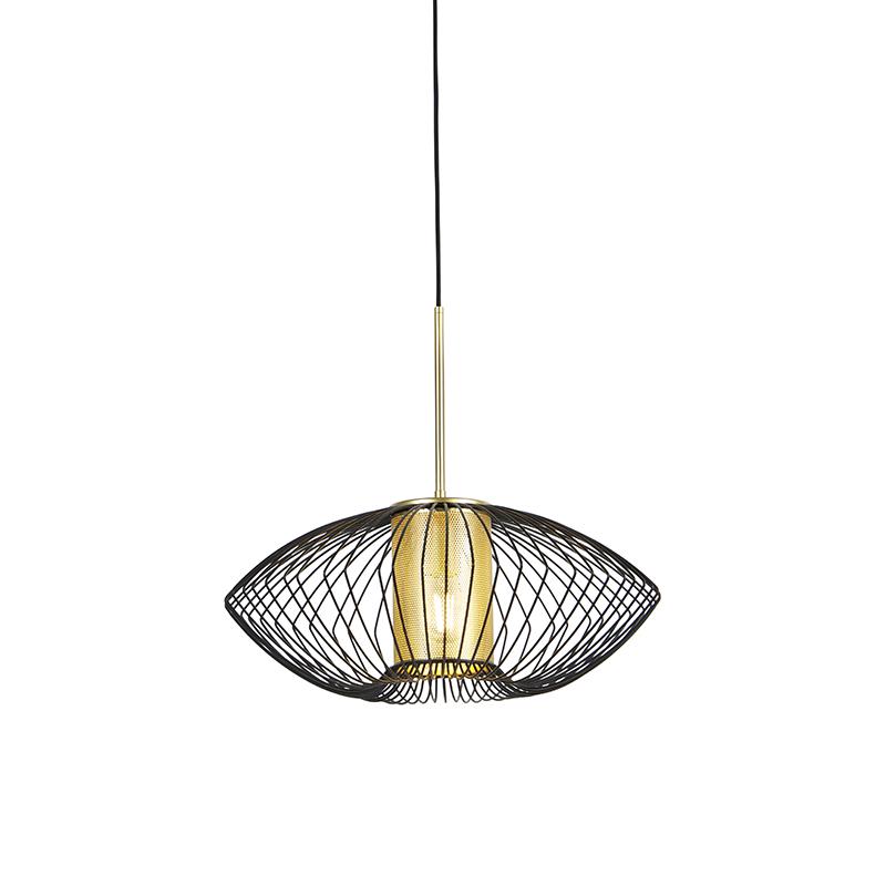 Design hanglamp goud met zwart 50 cm - Dobrado