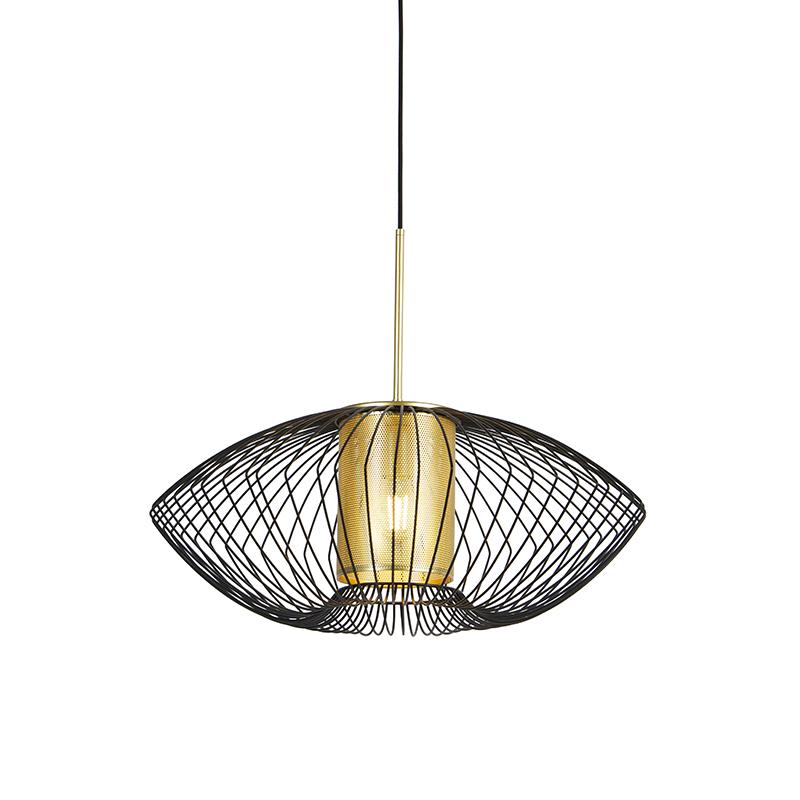 Designerska lampa wisząca złota z czarnym 60 cm - Dobrado