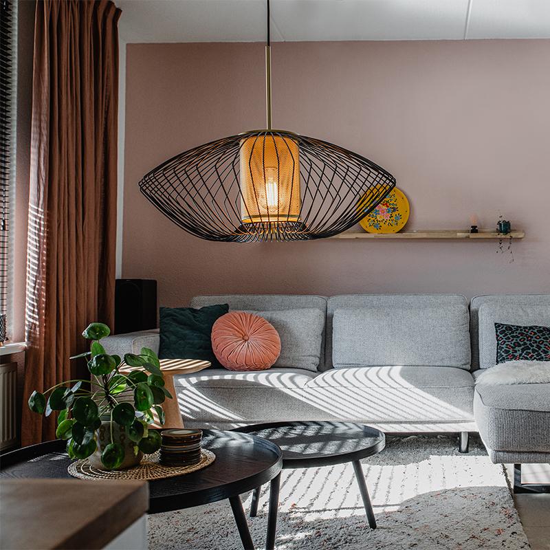Design hanglamp goud met zwart 60 cm - Dobrado