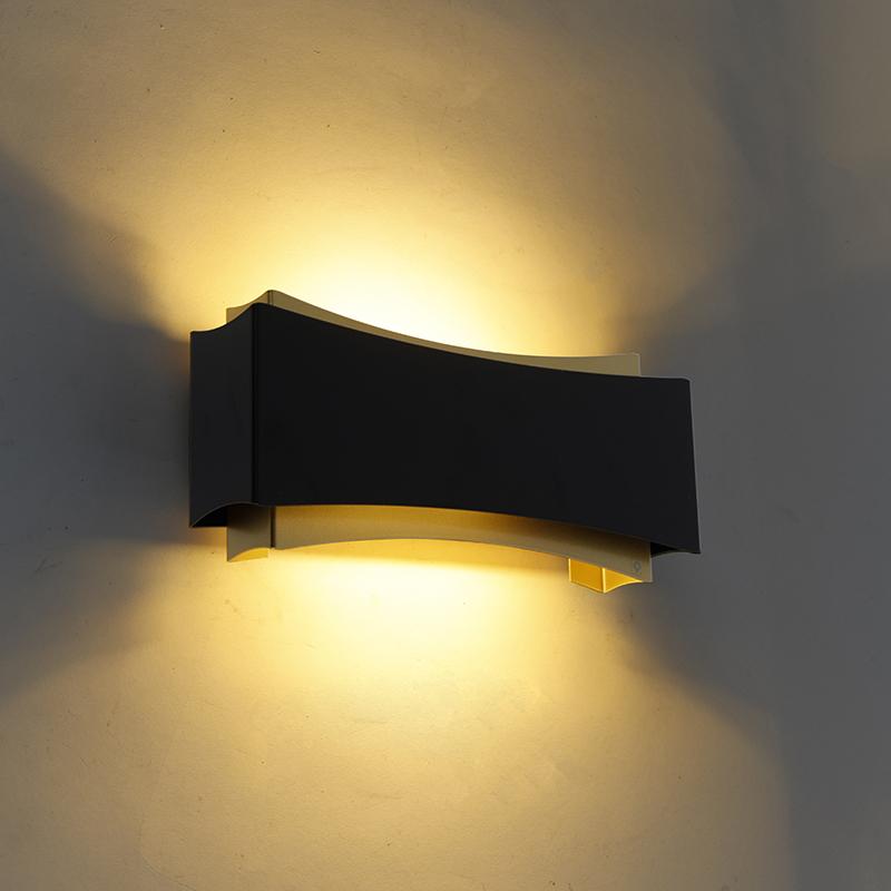 Moderne wandlamp zwart met goud - Plats