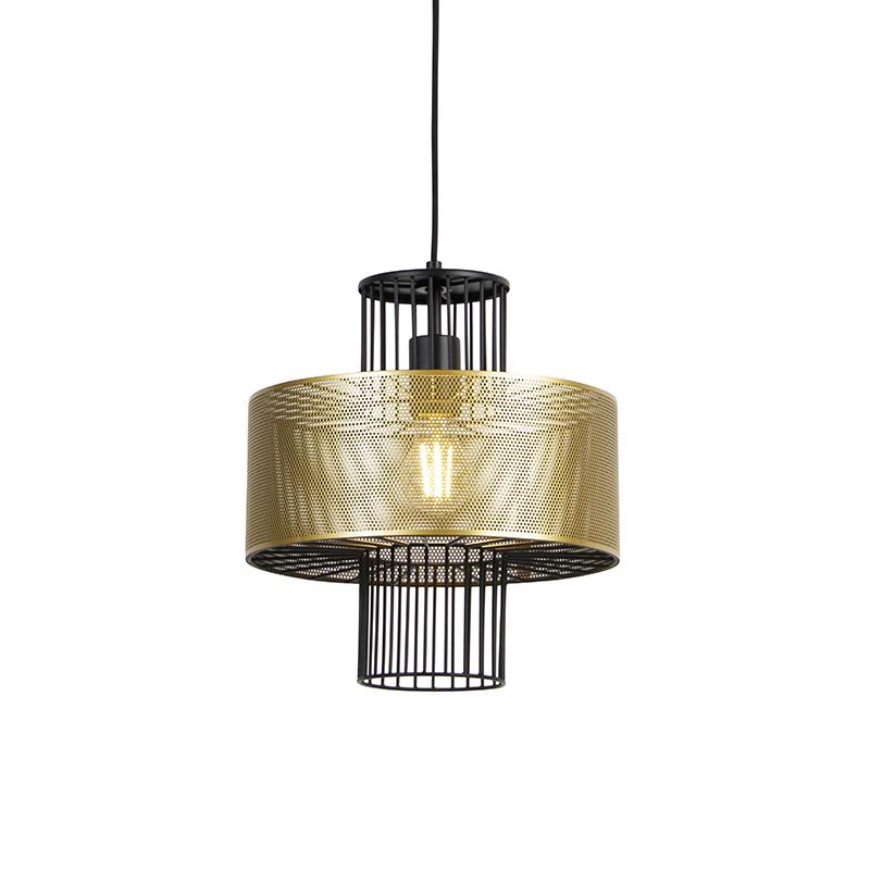 Designerska lampa wisząca złota i czarna 30 cm - Tess