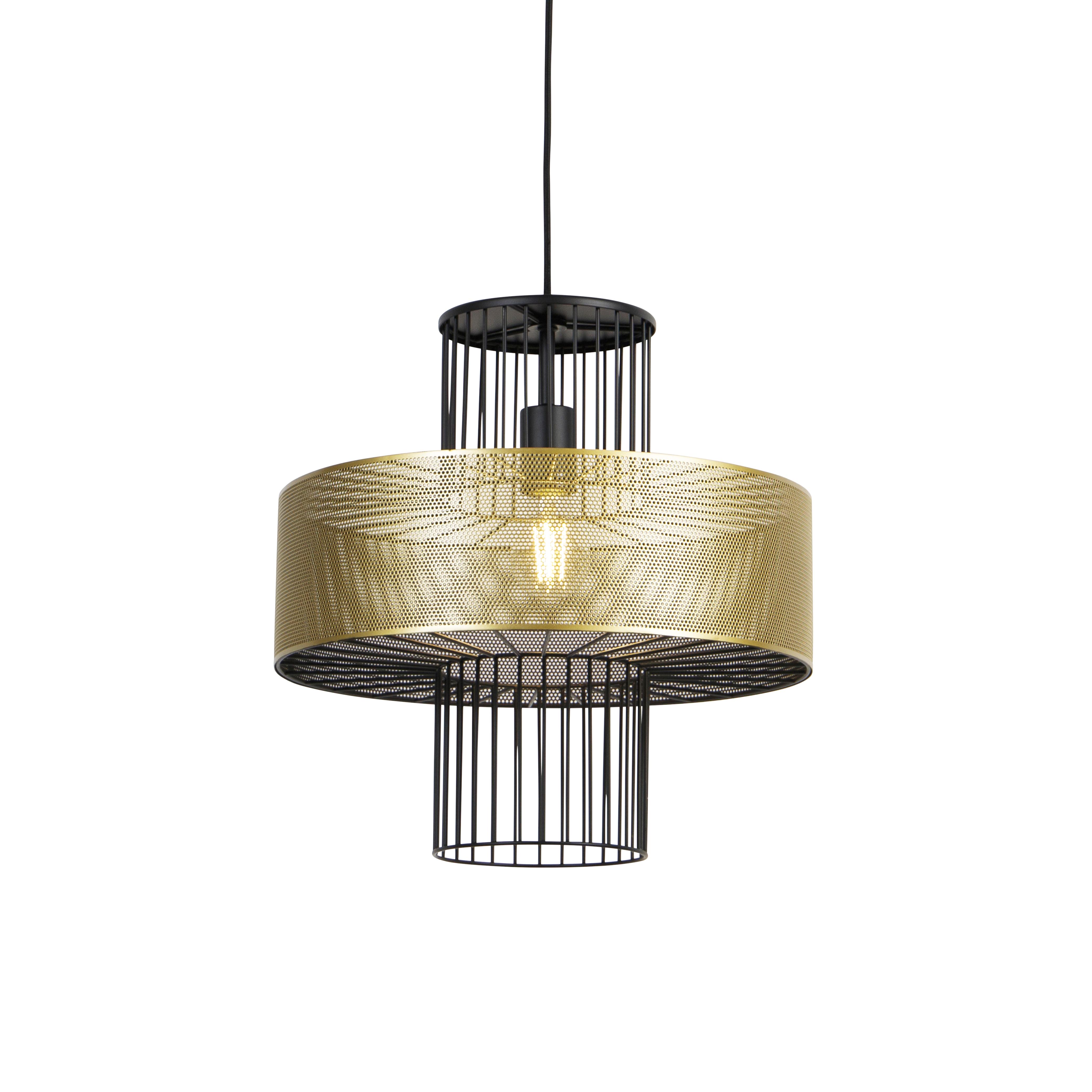 Designerska lampa wisząca złota z czarnym 40 cm - Tess