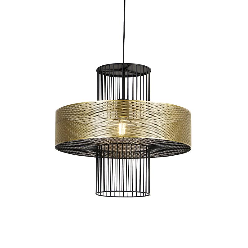 Designerska lampa wisząca złota z czarnym 50 cm - Tess