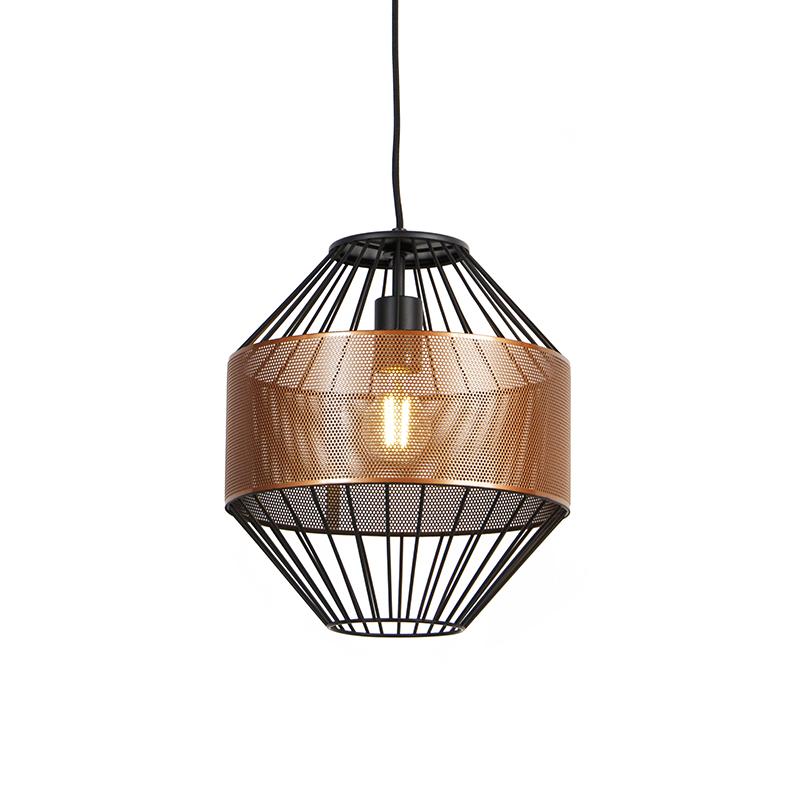 Designerska lampa wisząca miedziana i czarna 30 cm - Mariska