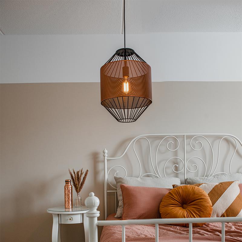 Design hanglamp koper met zwart 33 cm - Mariska