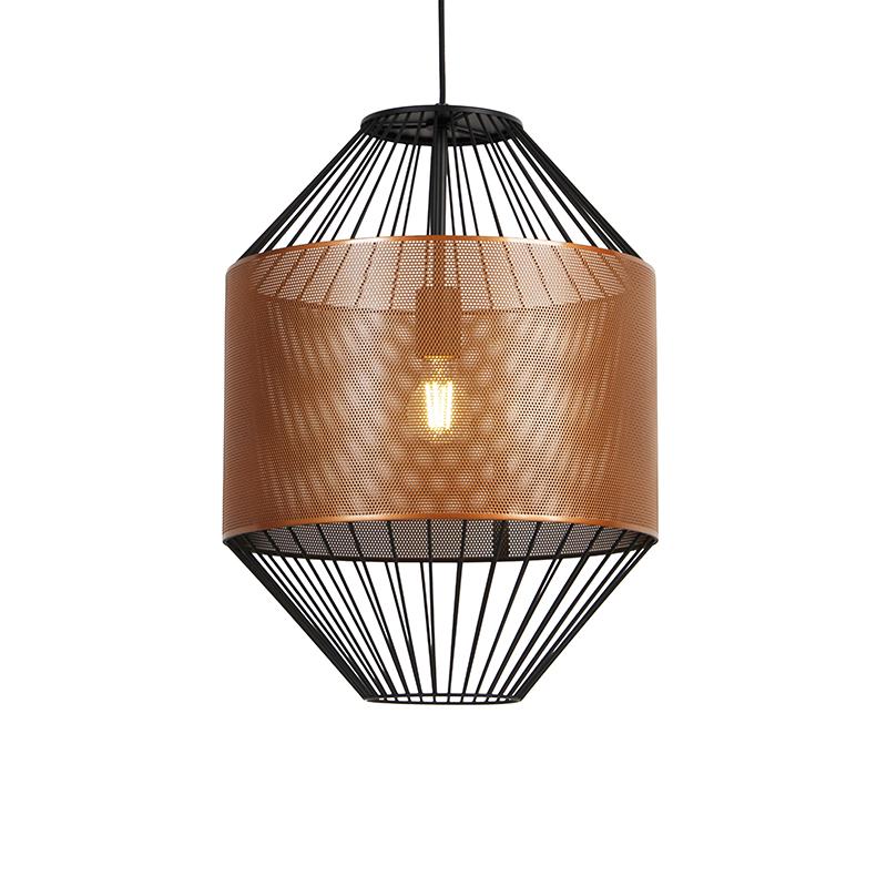 Designerska lampa wisząca miedziana z czarnym 40 cm - Mariska