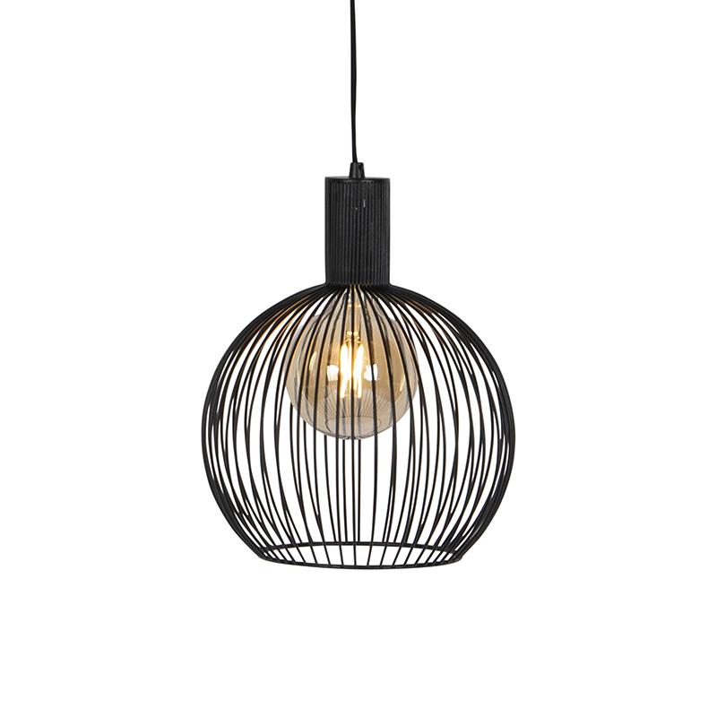 Design ronde hanglamp zwart 30 cm - Dos