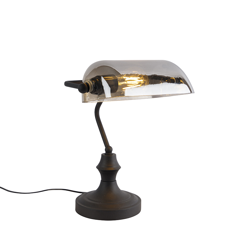 Klassieke notarislamp zwart met gerookt spiegelglas - Banker